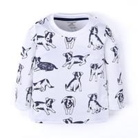 ingrosso camicie per cani-Funnygame17 NUOVO ARRIVO ragazzi Bambini 100% Cotone Manica Lunga o-collo dei cartoni animati cani stampa completa maglietta primavera autunno maglietta