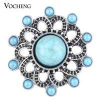 Wholesale Bead Jewelry Vintage - VOCHENG NOOSA 18mm Vintage Hollow out Round Blue Bead Snap Jewelry Vn-1131