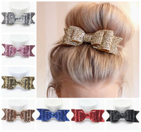 Wholesale Kid Butterfly Barrettes - 2016 baby sequin bows clips girls boutique hair bows kids leather bow hairclip children shiny big butterfly accessories barrettes wholesale