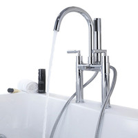 Wholesale Brass two handle Bathtub Faucet Chrome finish Bathtub Mixer with Hand Shower and Hose BF950