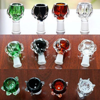 Wholesale Cheap Glass Bowls Free Shipping - cheap glass bowls Four Colors Available Heady colored smoking bowl for glass bongs water pipes female bowl 14 18mm Free Shipping