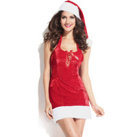Wholesale Christmas Hat Adult - Wholesale-New arrival good quality red Adult Santa suit Women Christmas wear with hat hot sexy Christmas gift for women 7250