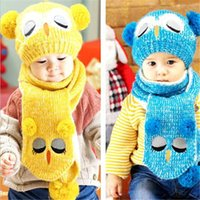 Wholesale Owl Crochet Set - Wholesale baby caps hats set owl child wool cap Toddler knitted hat with scarf kid wool cute unisex hats kid407