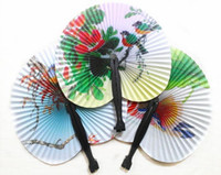 200PCS Summer Style Art Chinese Folding Hand Hand Fans para festa para eventos Wedding Home Decoration Crafts Mulheres Dancing Fan