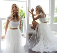 Wholesale Pink Wedding Wraps - 2016 Sexy Two Pieces Wedding Dresses With Cap Sleeves Lace Tulle High Split Summer Beach Wedding Dresses Sweep Train Fast Shipping