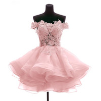 Wholesale Coral Vestidos - vestidos de fiesta cortos Party 2017 Off the Shoulder Short Mini Homecoming Cocktail Dresses Organza Prom Party Gowns