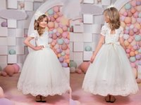 Wholesale Multi Color Tulle Ankle Dress - Jewel Capped Short Sleeves Bow Ankle Length Lace Up Hollow Ribbon Flower Giel Dresses Cute Wedding Dresses