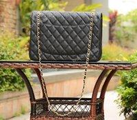 Wholesale Caviar Flap - Factory Wholesale 33cm Maxi Caviar Double Flap Bag w Gold Hardware Black Jumbo Chain Flap Bags Genuine Leather Women Shoulder Bag