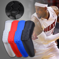 Wholesale Arm Padding - 2016 Brand Sport safety basketball Arm pads Antislip honeycomb pad elbow Guard support calf compression arm sleeves Sport Protector Elbow 88