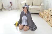 Wholesale animal plush valentine - New Cosplay Totoro Lovely Plush Soft Cloak Totoro Cape Cat Cartoon Cloak Coral Fleece Air Blankets Birthday Valentine Gifts