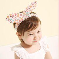 Wholesale Headband Rabbit Korea - Korea Style Cute Baby Girls Headbands Baby Head wraps knot Colorful Fruit Print Rabbit Ear Headwraps Baby Headband Hair Tool