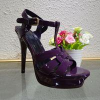 Wholesale Light Purple High Heel Shoes - 2016 Brand Candy Color Gladiator Sandals Women Genuine Leather Shoes Platform Pumps High Heels Shoes Woman Sandalias Mujer 35-41