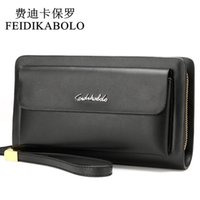 Wholesale Double Zipper Clutch Wallet - FEIDIKABOLO Famous Brand Leather Men Wallets Double Zipper Black Cover Coin Purse Men's Clutch Wallet Portomonee High Capacity