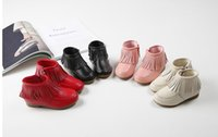 Wholesale Girls Shorts Heels - 2016 New Arrivals Autumn Genuine Leather Tassel Children Girls Short Boots Princess Martin Solid Color Fashion Shoes B4147