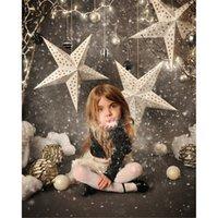 fotografia de papel de parede digital de natal venda por atacado-Digital Printed Stars Falling Crianças Floco De Neve Fotografia Backdrops Vinil Bolas De Natal Festa De Férias Crianças Foto Estúdio De Fundo