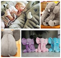 Wholesale Elephant Stuffed - 60*50cm elephant pillow Long Nose Elephant Doll Pillow Soft Plush Stuff Toys Lumbar Pillow Baby Children INS sleep pillow KKA879