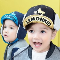 Wholesale Earflap Hat Balls - Kids Roll brim Warm Hat Cute cotton turn edge ear protection hat Letters Embroidery baby earflap hat for boys and girls