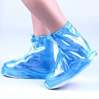 wasserdichte schuhabdeckungen frauen großhandel-Frauen-Mädchen-wasserdichte Schuh-Abdeckungs-wiederverwendbares mit Reißverschluss regensicheres Schuh-Abdeckungs-hohes elastisches Gewebe verdicken Sohle Beleg-beständiges freies Verschiffen