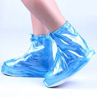 Wholesale Rubber Cover Boot Shoes - Women Girls Waterproof Shoes Cover Reusable Zippered Rainproof Shoes Covers High Elastic Fabric Thicken Sole Slip-resistant Free Shipping