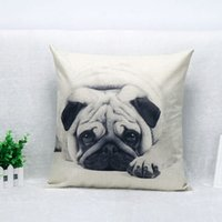 Wholesale Chair Covers Linens - Throw Pillow Covers Cute Pug Pet Black Dog Linen Custom Home Decorative Throw Pillow Case Almofadas Decorate Sofa Chair Cushion