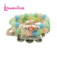 3 Pcs / Set Antique Silver Color Corns Com Colorido Preto Laranja Blue White Color Beads Braceletes Bangles For Women