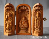 ingrosso statue di legno di buddha-Cina Buddismo Legno di bosso Statua intagliata a mano Buddha Maitreya Ji Gong Kuan Yin
