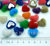 Wholesale Quilt Fabric Hearts - 100pcs 17mm*15mm Heart Handmade Velvet Fabric Covered Chunky Buttons - Flat Backs, Assorted Colors A00823 M68524