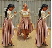 Wholesale Navy Ribbon Bow - High Low Pink Prom Dress bella naija Bridesmaid Dresses 2017 wedding guest Dresses Long Sleeve Plus Size