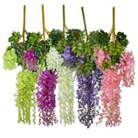 Wholesale plastic wedding flowers - 12pcs 105cm Artificial Silk Wisteria Hanging Plants For Wedding Party Home Garden Decor Decorative Hanging Flowers Wholesales