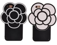 capas de telefone celular de silicone 3d venda por atacado-3d dos desenhos animados flor de camélia casos de telefone de silicone n5 padrão de volta capa mole 360 casos de telefone celular de proteção para iphone6 iphone6plus