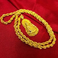 altın plaka zinciri toptan satış-Vintage 24 K Gerçek Sarı Altın Kaplama Buda Kolye Kolye Twisted Zincir Budist İnananlar Kolye Erkekler Kadınlar