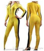 gelbe einheit großhandel-Spandex Gelb Lycra Catsuit mit schwarzen Streifen Body Dance Unitard Overall