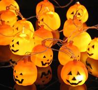 Wholesale Wedding Hanging Lanterns Wholesale - 250cm Hanging Halloween Pumpkin Lantern String Light 16 LEDs AC220V Orange Pumpkin Lights Halloween Holiday Decor