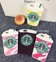 Wholesale Case Pink Iphone 4s Luxury - For Iphone 7 Plus 5S 4S 3D Luxury Brand Starbucks Coffee Cup Case Soft Silicon Back Cover For Iphone 6 6plus