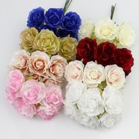Wholesale Craft Wreaths Wholesale - 3cm silk flower Artificial rose flowers for wedding decoration DIY Wreath Gift Scrapbooking Craft Fake Flower 60pcs lot