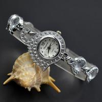 Wholesale White Metal Swan - Fashion exquisite Chaoyada Woman girl swan bird style steel metal strap quartz small bracelet wrist Watch