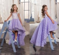 Wholesale Lavender Flower Girl Baby Dresses - 2017 Cute Lilac Lace High Low Flower Girl Dresses For Wedding Lavender Crew Backless Girls Pageant Gowns Baby Prom Party Dresses Custom Made