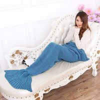 trajes de ar condicionado venda por atacado-2016 Nova 195 * 95 cm Crochet Sereia Cauda Cobertor Super Macio Mais Quente Cama Cobertor Traje de Dormir Ar-Condicionado Malha Cobertor