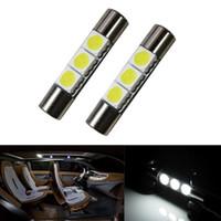 luz led para carro espelho venda por atacado-10 Pcs carro avisar Branco 29mm 5050 SMD 6641 3-LED Lâmpadas Espelho de Vaidade Luzes Viseira de Sol Novo