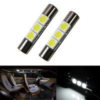 Wholesale Vanity Mirror Lights Bulbs - 100Pcs car warn White 29mm 5050 SMD 6641 3-LED Bulbs Vanity Mirror Lights Sun Visor New