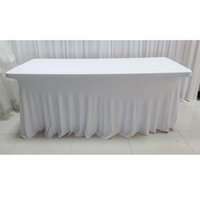 Wholesale Table Lycra - 5pcs A Lot 6FT*29'' Luxury Lycra Rectangle Natural Fall Swag White Table Cloth For Wedding Decoration For Free Shipping