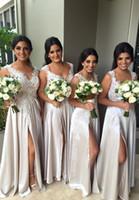 Wholesale Cheap Purple Silk Dresses - 2016 Newest Split Size V Neck Wholesale Cheap Junior Bridesmaid Dresses Long Under 100 Sexy Party Prom Dresses