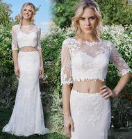 Wholesale Cheap Fancy Crystal - 2016 Fancy Two Pieces Sheath Lace Mermaid Wedding Dresses Cheap Boat Neck Half Sleeves Backless Vestido De Novia Beach Garden Bridal Gowns