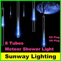 Wholesale Led Snowfall Light Tubes - 2016 8pcs set Snowfall LED String Light Christmas Rain tube 20cm 30cm 50cm Meteor Shower Rain LED Lights 100-240V EU US plug