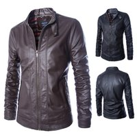 Wholesale Thin Pu Leather Jacket - Fall-M-5XL Locomotive jacket for men male Leather Jacket mens leather thin fit jackets and coats Casual Wear Top quality PU leather