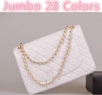 Wholesale Spandex Nude Women - Classial 33CM Caviar Maxi Jumbo Quilted Chain White Caviar Leather Double Flaps Shoulder Bag Lambskin Bag 28 Colors