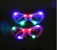 Wholesale light up eyes halloween resale online - Halloween LED mask party glasses kids gift toy glow eyeglasses plastic led light up glasses Bar Eye wear Glasses