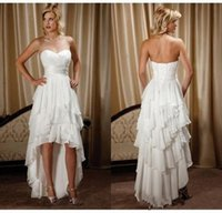 Wholesale sexy beaded strapless wedding dresses for sale - 2018 New Arrival Hi Lo Chiffon Beach Wedding Dresses Cheap Beaded Sash Sweetheart Country Western Wedding Bridal Gowns