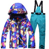 sports costum - Women Ski Suit Sets Outdoor Sports Ladies Snowboard Clothing Waterproof Winter Snow Costum Skiing Jackets Pants Cheap