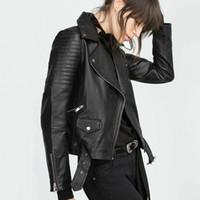 Wholesale Ladies Leather Motorcycle Jacket Xl - 2016 New Fashion Women Faux Leather Jacket Ladies Motorcycle PU Black Long Sleeve Coat with Belt